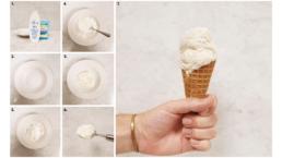 Bilden föreställer en kula glass i en glasstrut