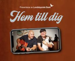 Kampanjbild med Peter med en gitarr och Trond med en hund